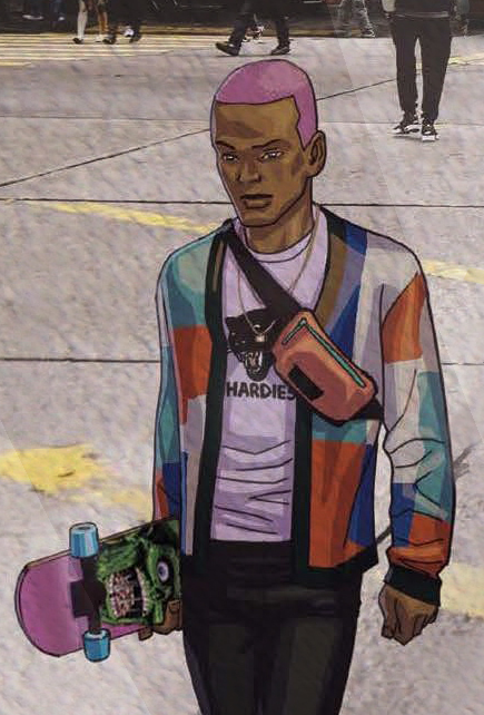 Image of an African American man drawn in an anime style as he walks across a photograph of a NYC street. He has pink dyed hair, a geometric cardigan, a graphic tee, a skateboard, and the Rascal Belt Bag by Timbuk2