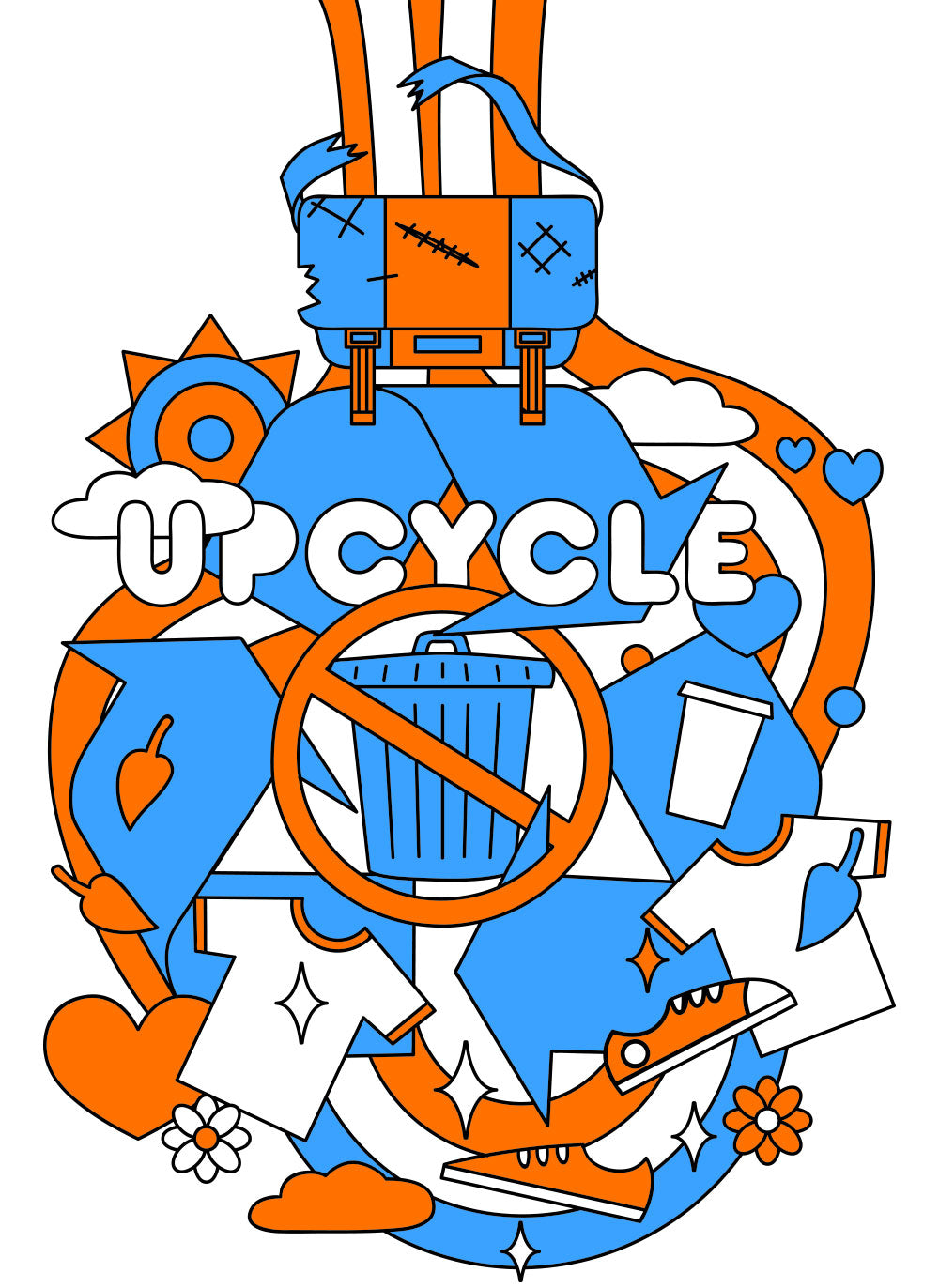 Upcycle. Unusable or unrepairable bags go to a materials recycling center for upcycling.