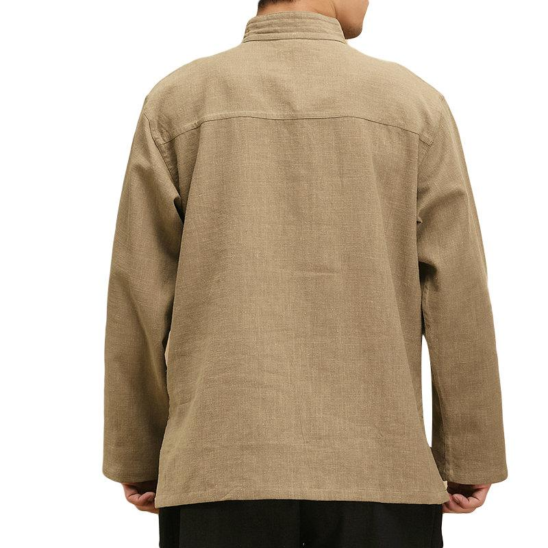 Mens Vintage Chinese Style Stand Collar Solid Color Loose Buttons Shirts