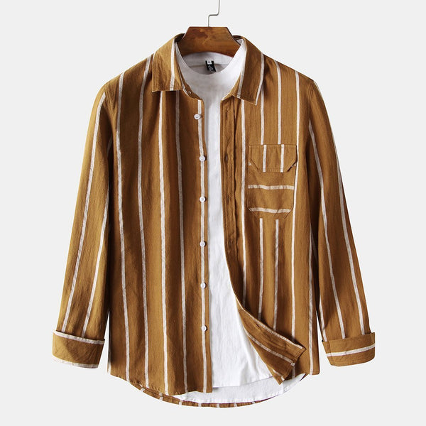Men Stripe Printed Chest Pocket Lapel Long Sleeve Shirts