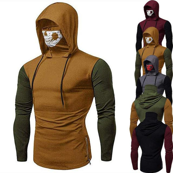 Fashion Drawstring Scare Mask Hoodie