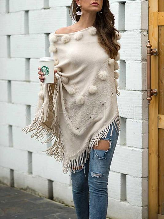 Fuzzy Ball Tasseled Cape Sweater Tops