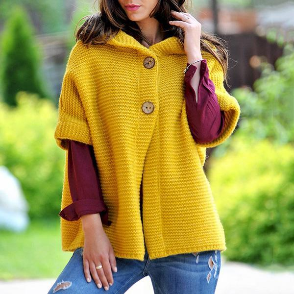 Cute 1/2 Sleeve Buttons Sweater