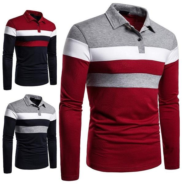Fashion Men Lapel Long Sleeve Tri-color Striped Stitching Shirts