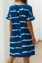 Tie-dyed Stripe Pockets Short Sleeves Midi Dress