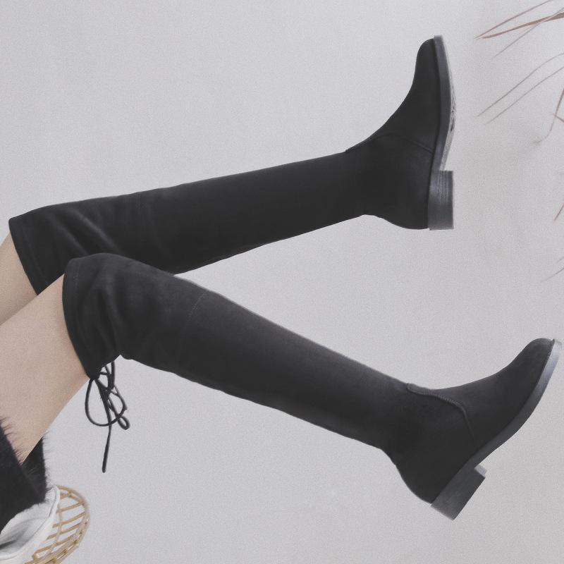 Winter Warm Over Knee Boots Women Lace-up Shoes