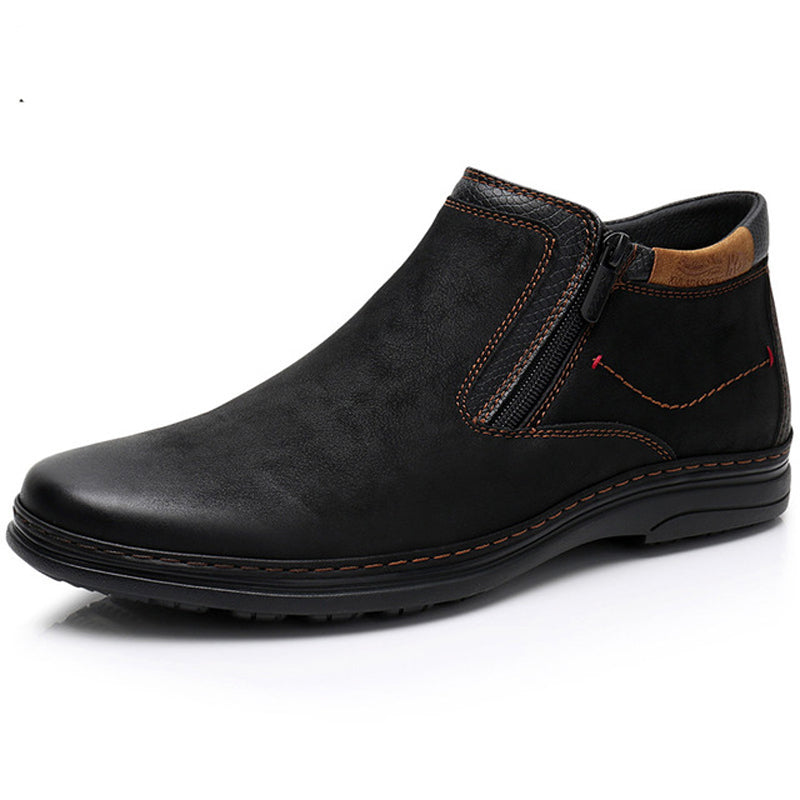 Men Shoes Cow Suede Ankle Boots Men's Double Zipper Side Casual Boots Men's Walking Comfortable Shoes