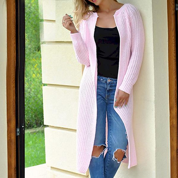 Solid Color Fall Outerwear Women Sweaters