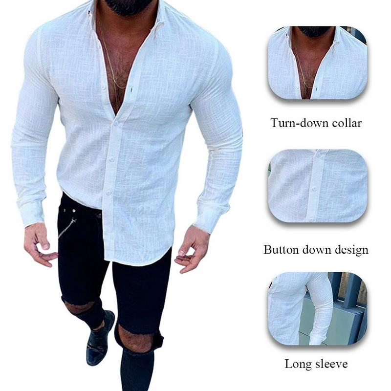 Men Fashion Long Sleeve Solid Button Shirts