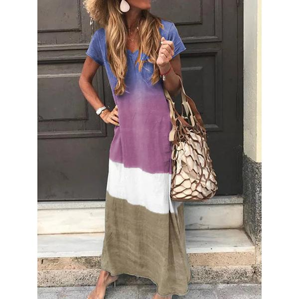 Casual Four-Color Gradient V-Neck Short-Sleeved Dress
