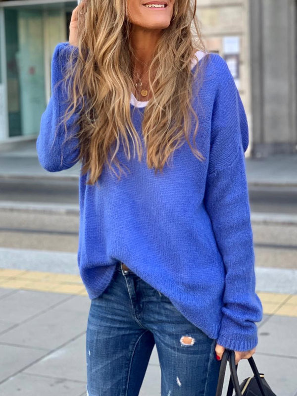 Blue Long Sleeve V Neck Shirts & Tops