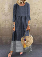 Linen Crew Neck Shift Holiday Casualdress