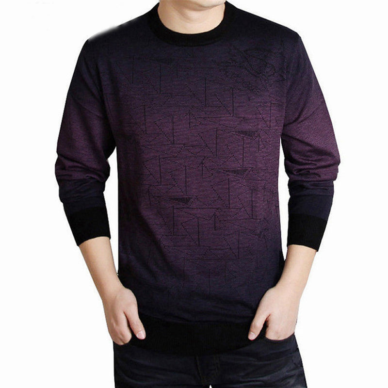 Men Sweater Clothing Mens Sweaters Print Casual Shirt Autumn Wool Pullover Men O-Neck Pull Homme Top