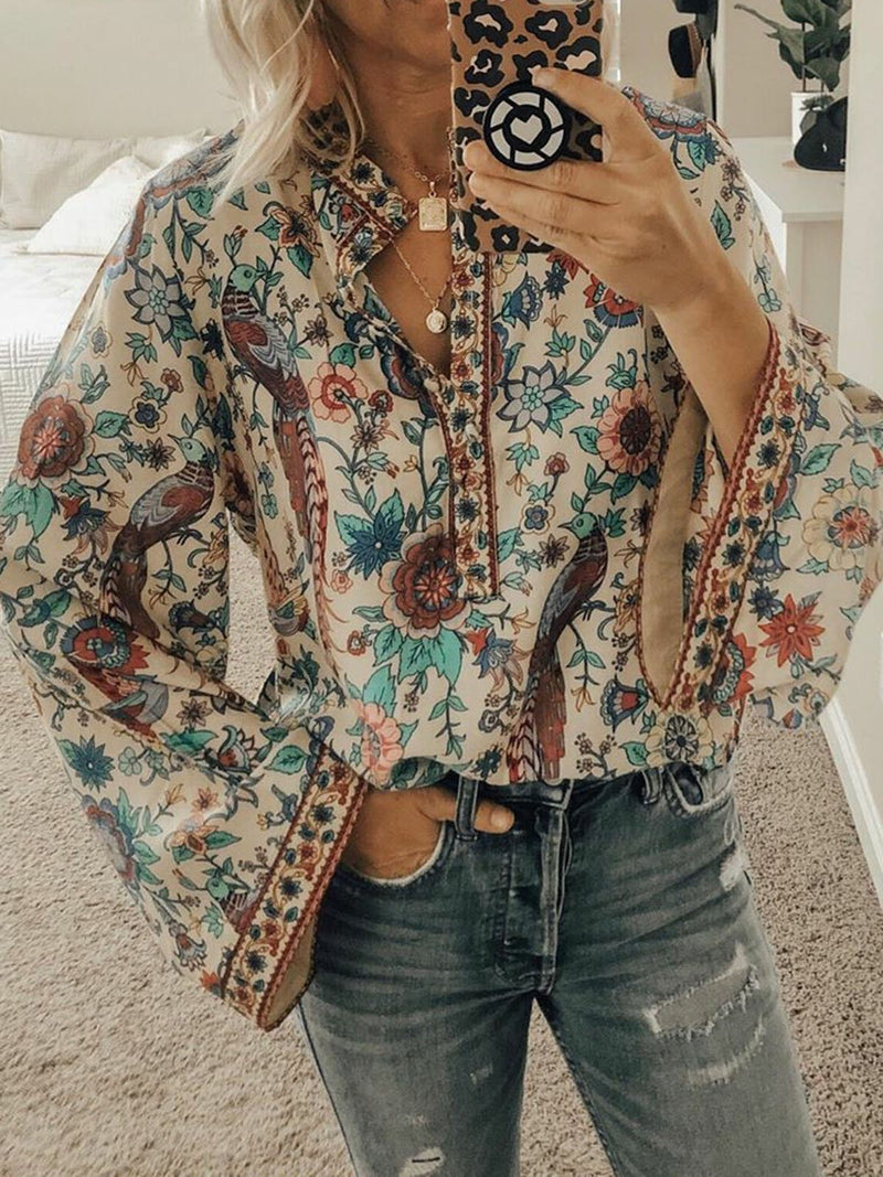 Cotton-Blend Floral-Print V Neck Sweet Shirts