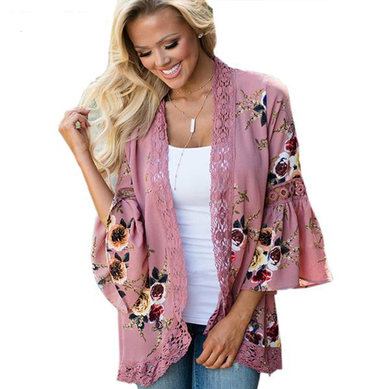 Women Cardigan Print Lace Shirt Plus Size Kimono Top