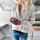 Women Ruffles Blouse Autumn V neck Long Sleeve Buttons Down Shirt Lace Crochet Hollow Out Solid Tops