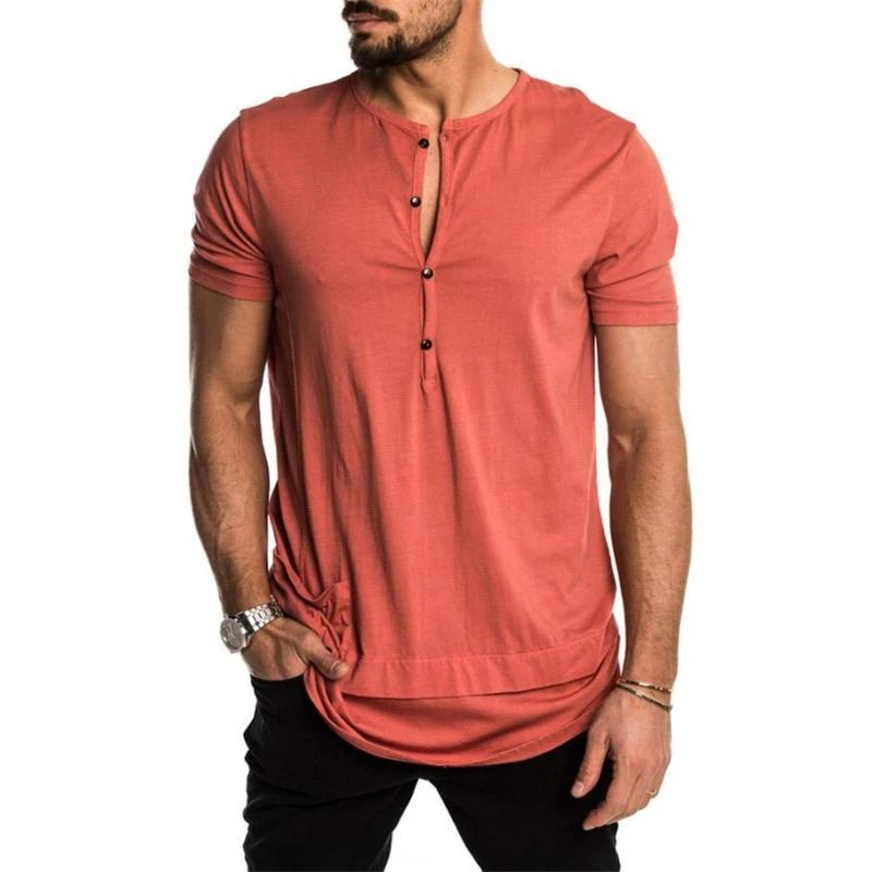 Summer Men's Fashion Casual Button Down T-Shirt