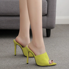Woman Fluorescent Green Mules Slip On Sandals Peep Toe Slides High Heel Slippers