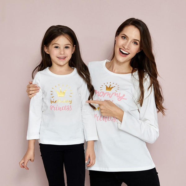 Mommy and Me Round collar Stars White long sleeve Matching Tops