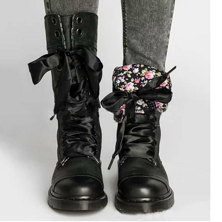 Leather buckle mid tube boots autumn winter Martin boots European and American retro buffing Lace Up Boots