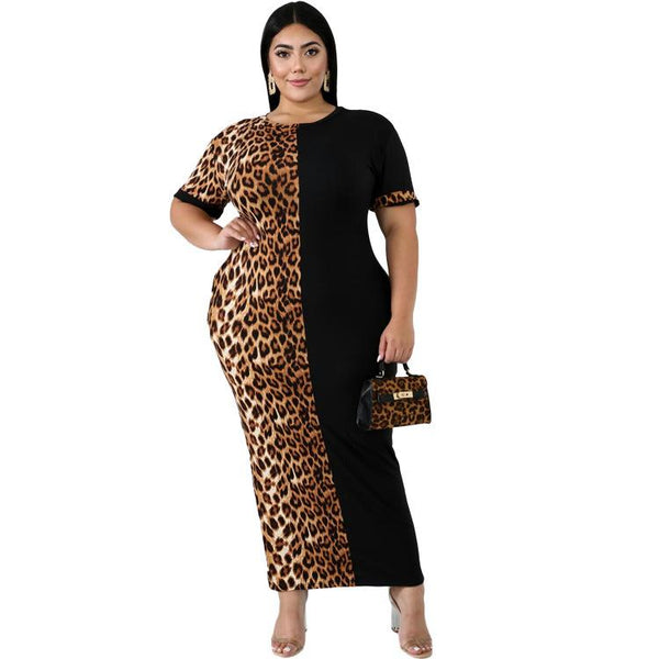 European and American Women's Fashion Casual Leopard Print Color Matching Dress