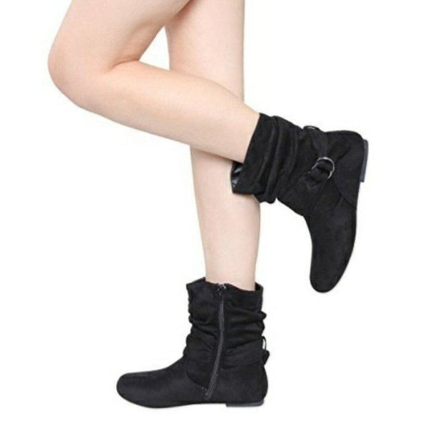 Autumn and Winter New Flat-bottomed Boots European and American Plus Size Ladies Boots Suede