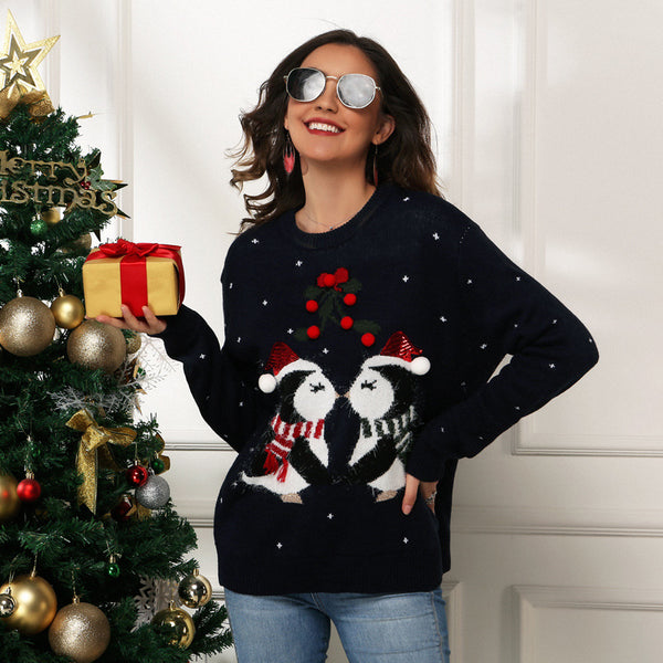 Women's Penguin Jacquard Loose Long Sleeve Sweater Pullover Christmas Sweater