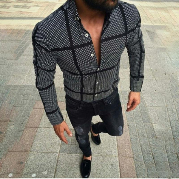 Men's Casual Black Plaid Shirts