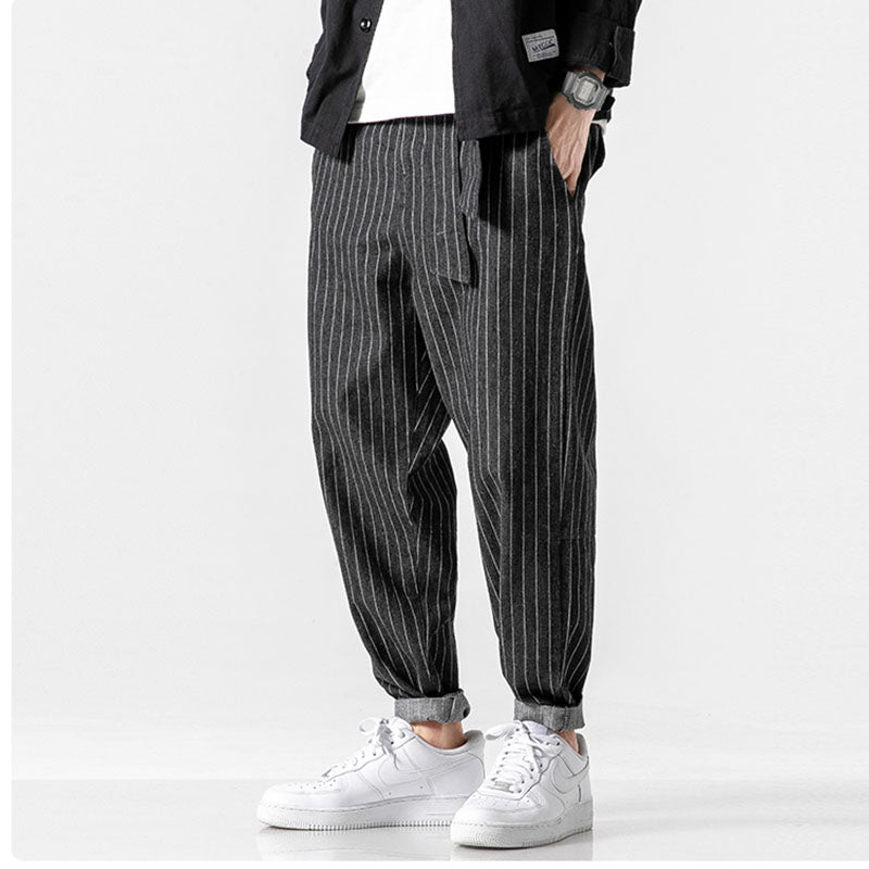 Men's Streetwear Loose Autumn Winter Striped Oversize Pants Fashion Pockets Jeans Denim Pants