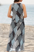 Geometric Print Elegant Sleeveless Midi Dress