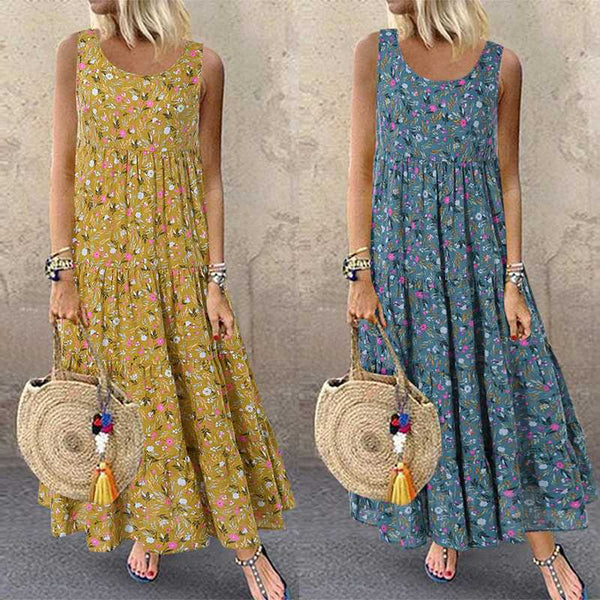 Shredded Floral Retro Sleeveless Round-necked Women's Dress