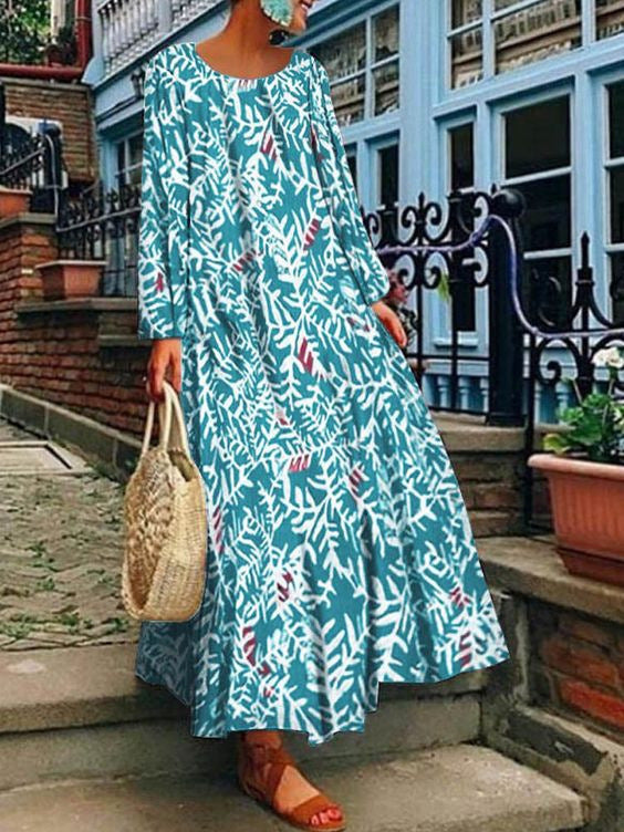 Summer Printed Long Sleeve Dress Long Skirt