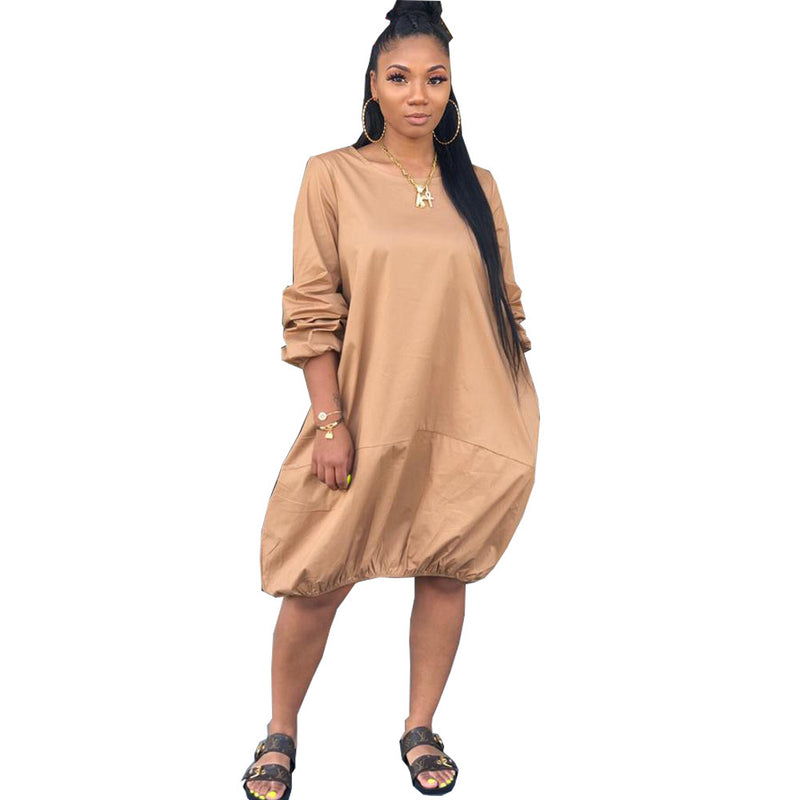 Women's Long-sleeved Casual Dress for Large Size