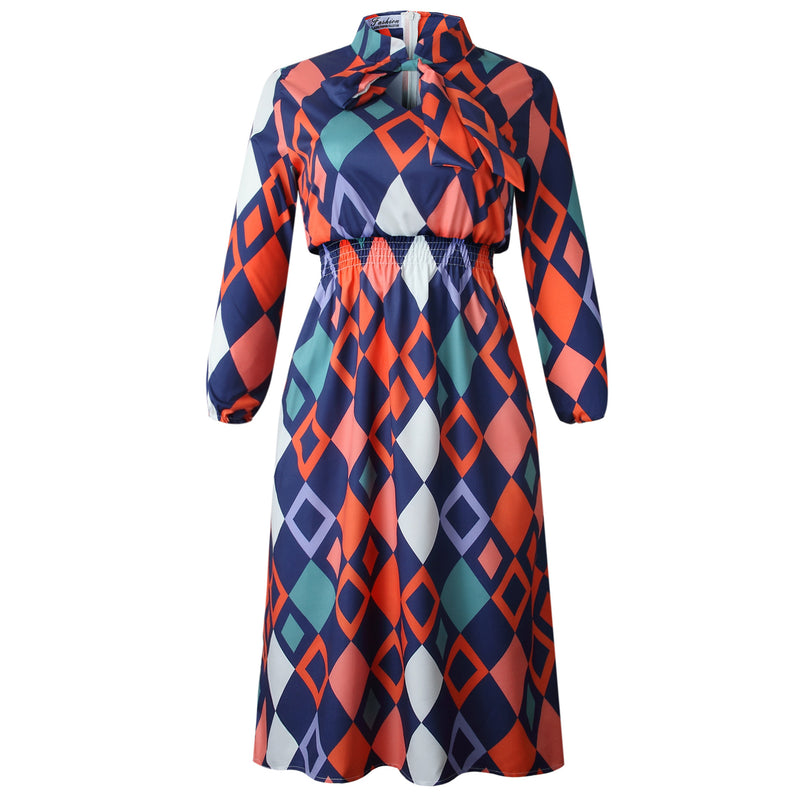 Women's Cross-border Temperament Thin Dress Tie Print Long-sleeved  Dress
