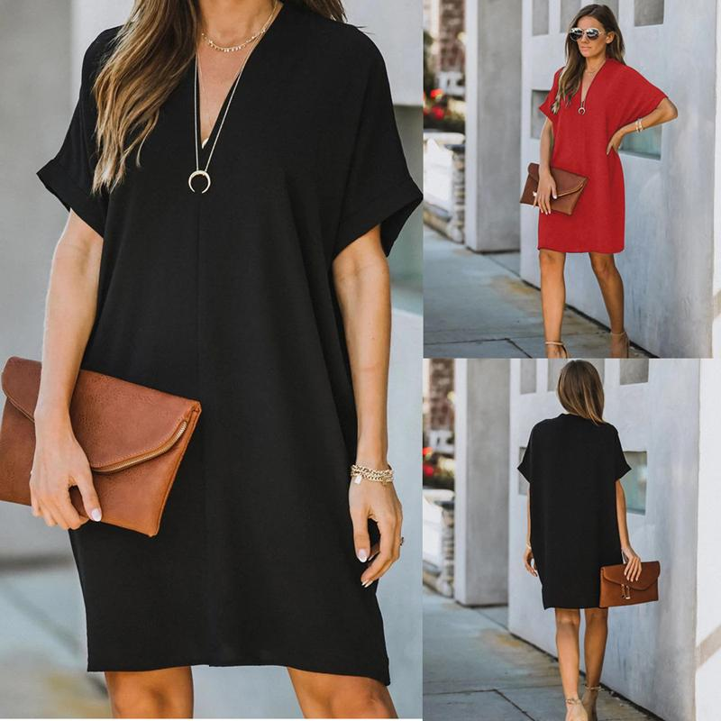 Women's V-neck Short Sleeve Solid Color Loose Dress
