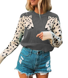 Casual Colorblock Leopard Head Blouse Sweater