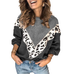 Solid Color Stitching Leopard Sweater Long-sleeved Shirt Sweater