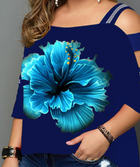 Print Floral Cold Shoulder 3/4 Sleeves Casual Plus Size T-shirts