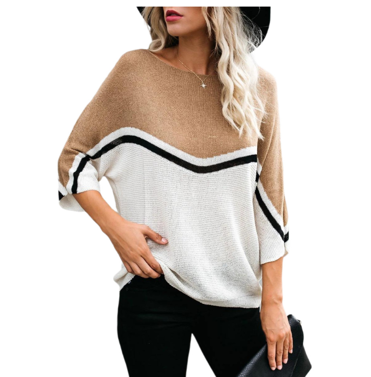Sweater Pullover Personality Stitching Plus Size Women's Sweater