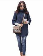 Women's high-neck temperament knitted sweater coat
