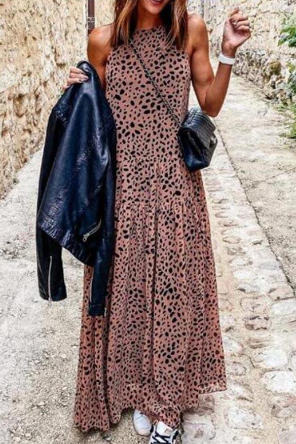 Leopard Print Paneled Elegant Sleeveless Maxi Dress