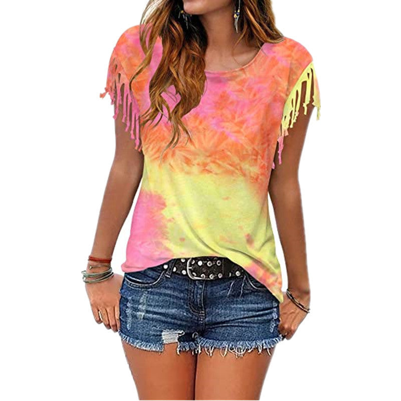 European and American Women's Clothing Dyed Quicksa Short-sleeved T-shirt Top
