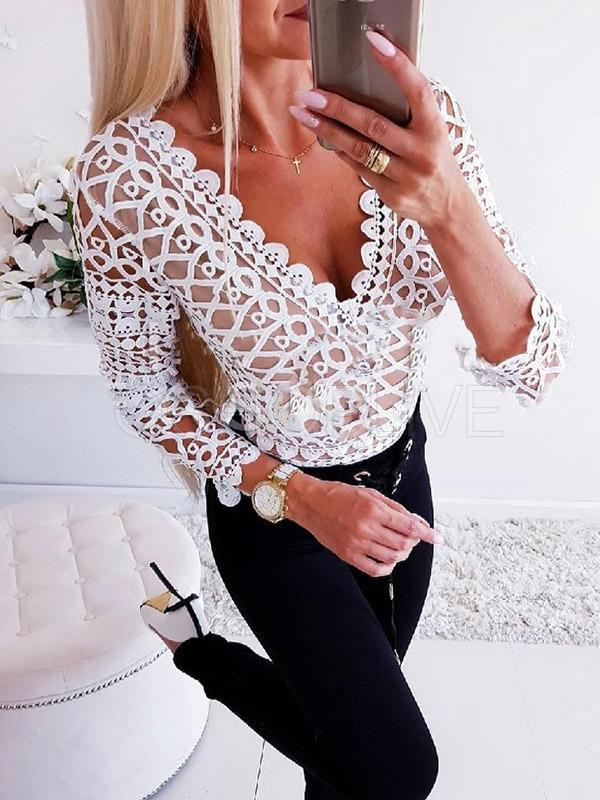 Solid V-neck Long Sleeves Blouses&shirts Tops