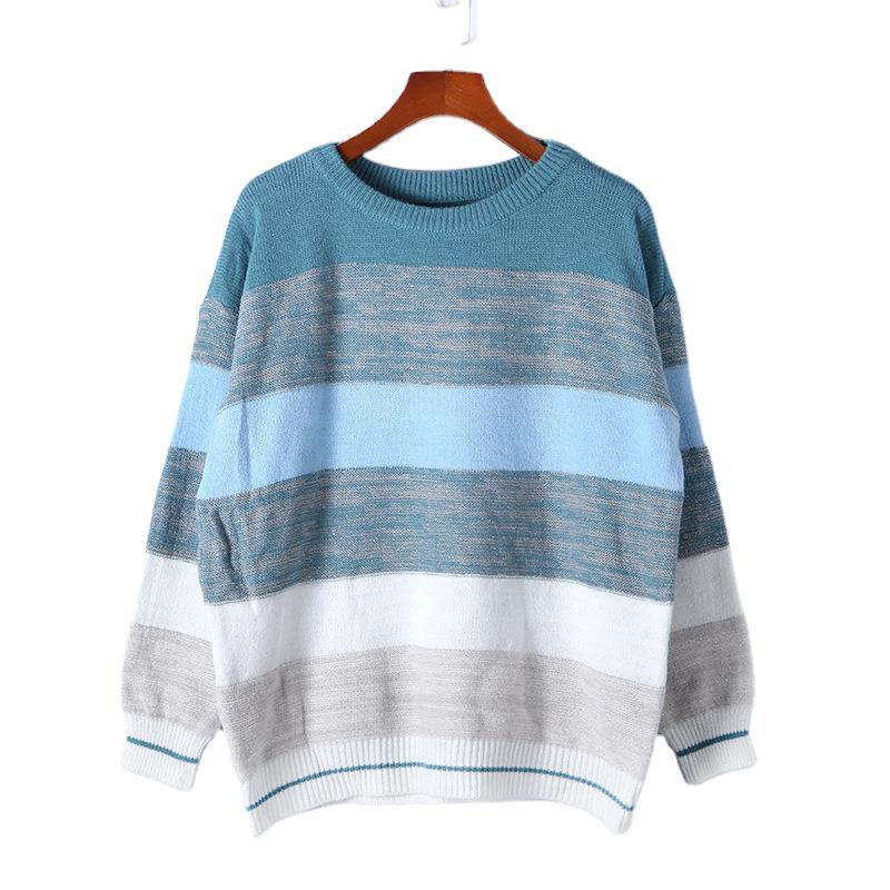 Women's Autumn and Winter New Cross Border Amazon Loose T-neck Sweater Multi Color Splicing Top