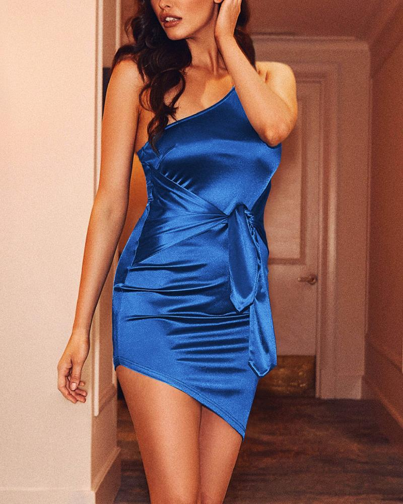 One Shoulder Knot Waist Asymmetrical Bodycon Dress