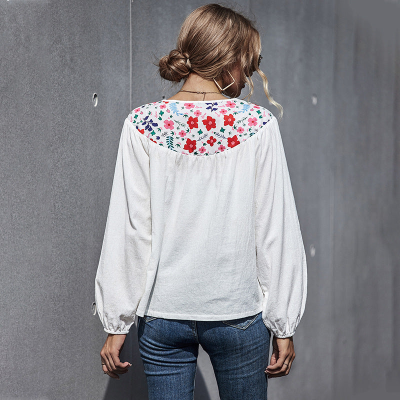 Autumn and Winter Long Sleeve Printed Women's T-shirt Top Round Neck