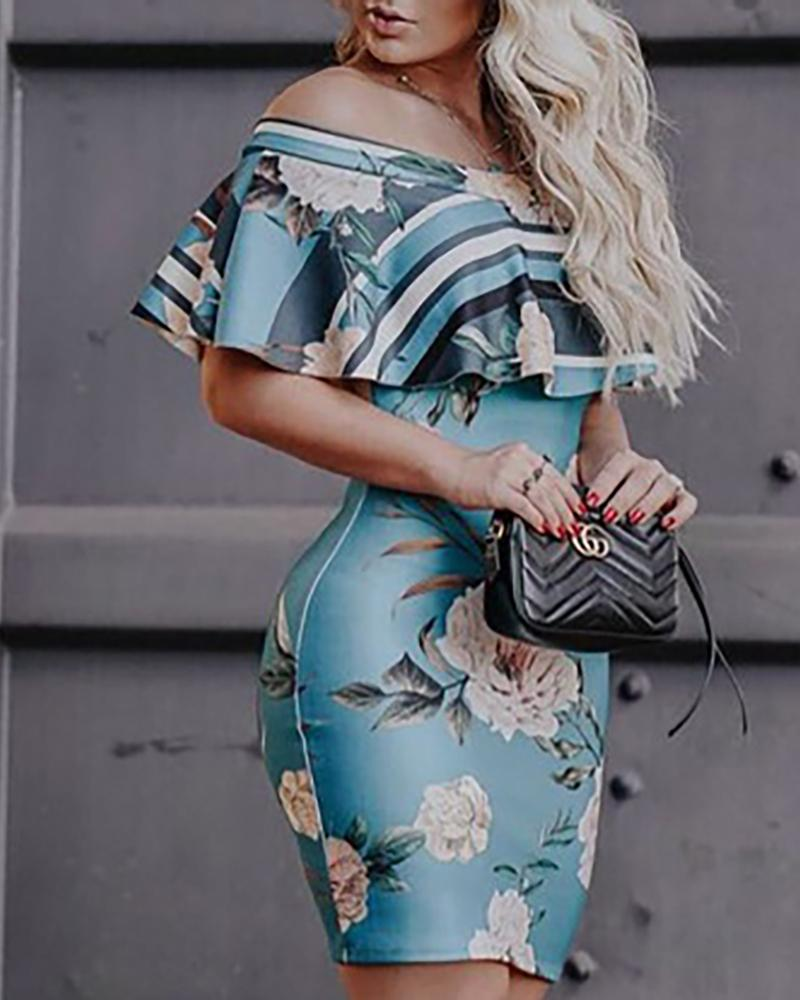 Floral Print Ruffles Bodycon Dress