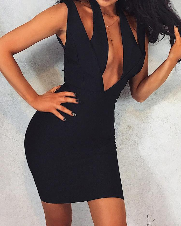 Deep V-Neck Cut Out Bodycon Dress