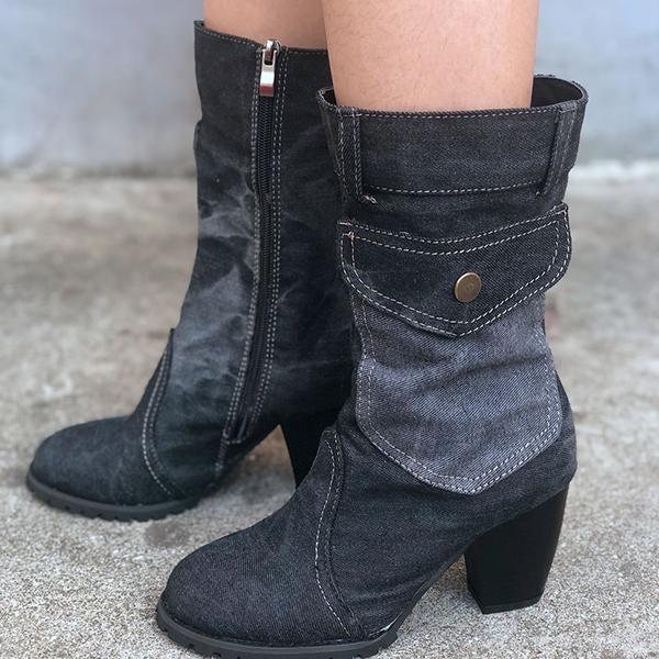 High Heel Zipper Cowboy Boots