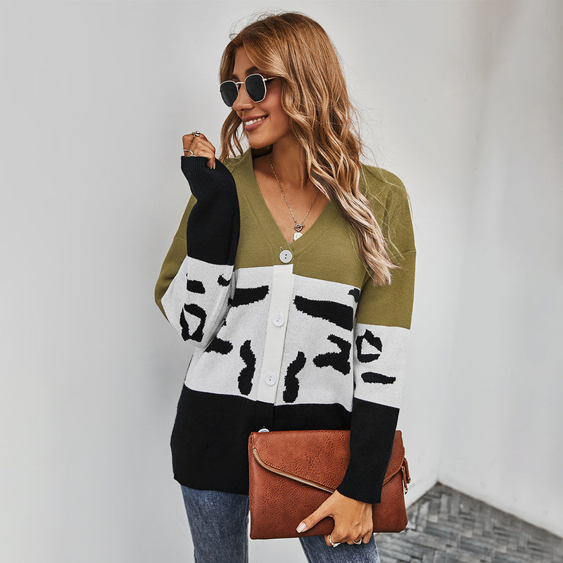 Women's Clothing Winter  New Color Contrast Cardigan Sweater Coat